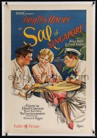 9f288 SAL OF SINGAPORE linen style A 1sh '28 art of prostitute Phyllis Haver w/ Alan Hale & Kohler!