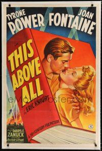 9f339 THIS ABOVE ALL linen style B 1sh '42 stone litho of Tyrone Power about to kiss Joan Fontaine!