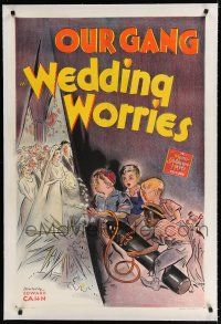 9f374 WEDDING WORRIES linen signed 1sh '41 by Spanky McFarland, who's with Bobby Blake & Buckwheat!