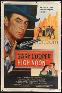 9h122 HIGH NOON linen 40x60 '52 wonderful different c/u of Gary Cooper by 4 who want to kill him!