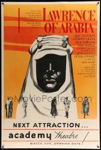 9h149 LAWRENCE OF ARABIA 40x60 '62 earliest known poster w/ different silhouette image & coloring!