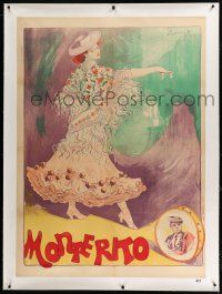 9h117 MONTERITO linen French 31x47 1902 art of pretty Spanish woman dancing by F. Larromet!