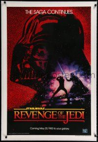 9h064 RETURN OF THE JEDI linen dated teaser 1sh '83 George Lucas classic, Revenge of the Jedi!