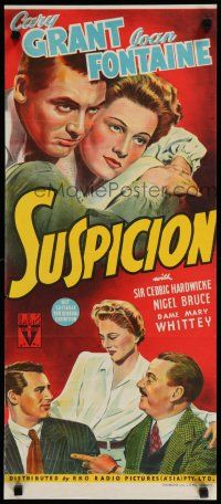 9j251 SUSPICION Aust daybill '41 Alfred Hitchcock, different art of Cary Grant & Joan Fontaine!
