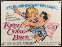 9j517 LOVER COME BACK British quad '62 different art of Rock Hudson & naughty Doris Day in bed!