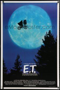 9j033 E.T. THE EXTRA TERRESTRIAL 1sh '82 Steven Spielberg classic, best bike over the moon image!