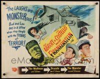 9j009 ABBOTT & COSTELLO MEET FRANKENSTEIN style B 1/2sh '48 Wolfman & Dracula are after Bud & Lou!
