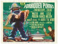9j135 FORBIDDEN PLANET TC '56 classic art of Robby the Robot carrying sexy Anne Francis!
