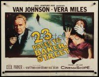 9w005 23 PACES TO BAKER STREET 1/2sh '56 cool artwork of Van Johnson & scared Vera Miles!