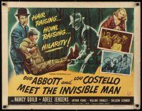 9w002 ABBOTT & COSTELLO MEET THE INVISIBLE MAN style B 1/2sh '51 Bud & Lou running from monster art!