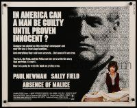 9w007 ABSENCE OF MALICE 1/2sh '81 Paul Newman, Sally Field, Sydney Pollack, cool design!