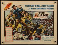 9w003 ALAMO 1/2sh '60 Brown art of John Wayne & Richard Widmark in the War of Independence!