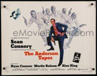 9w013 ANDERSON TAPES 1/2sh '71 art of Sean Connery & gang of masked robbers, Sidney Lumet