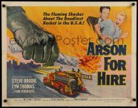 9w019 ARSON FOR HIRE 1/2sh '58 fire truck artwork, flaming shocker of the deadliest U.S. racket!