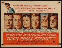 9w024 BACK FROM ETERNITY style A 1/2sh '56 sexy Anita Ekberg, Robert Ryan, Phyllis Kirk & more!