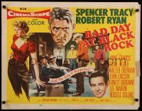 9w026 BAD DAY AT BLACK ROCK style A 1/2sh '55 Spencer Tracy, Robert Ryan & Anne Francis!