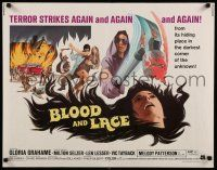 9w031 BLOOD & LACE 1/2sh '71 AIP, gruesome horror image of wacky cultist w/bloody hammer!