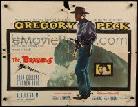 9w035 BRAVADOS 1/2sh '58 full-length art of cowboy Gregory Peck with gun & sexy Joan Collins!