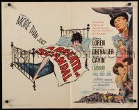 9w036 BREATH OF SCANDAL 1/2sh '60 art of sexy Sophia Loren in bed, Maurice Chevalier, John Gavin