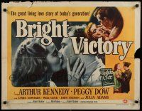 9w037 BRIGHT VICTORY style A 1/2sh '51 close up of blind Arthur Kennedy kissing pretty Peggy Dow!
