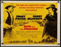 9w039 BUCK & THE PREACHER 1/2sh '72 Sidney Poitier and Harry Belafonte face off!