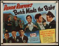 9w041 BUTCH MINDS THE BABY 1/2sh R47 Virginia Bruce, Broderick Crawford, great wacky artwork!