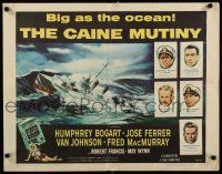 9w043 CAINE MUTINY 1/2sh R59 art of Humphrey Bogart, Jose Ferrer, Van Johnson & Fred MacMurray!