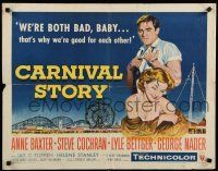 9w045 CARNIVAL STORY style B 1/2sh '54 art of Anne Baxter & Steve Cochran, we're both bad, baby!