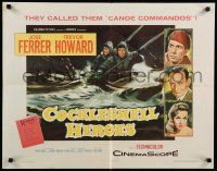 9w052 COCKLESHELL HEROES style B 1/2sh '56 Jose Ferrer, Trevor Howard, art of soldiers in canoe!