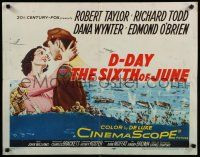 9w065 D-DAY THE SIXTH OF JUNE 1/2sh '56 romantic art of Robert Taylor & sexy Dana Wynter in WWII!