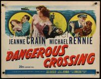 9w060 DANGEROUS CROSSING 1/2sh '53 artwork of very sexy Jeanne Crain in nightie, Michael Rennie!