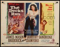 9w066 DECKS RAN RED style A 1/2sh '58 James Mason, Dorothy Dandridge is one girl on a crime ship!
