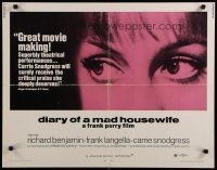 9w070 DIARY OF A MAD HOUSEWIFE 1/2sh '70 Frank Perry, super close up of Carrie Snodgress' eyes!