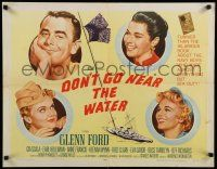 9w072 DON'T GO NEAR THE WATER style A 1/2sh '57 Glenn Ford, Eva Gabor, Anne Francis, Gia Scala!