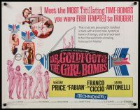 9w074 DR. GOLDFOOT & THE GIRL BOMBS 1/2sh '66 Mario Bava, Vincent Price & sexy half-dressed babes!