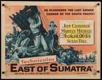 9w075 EAST OF SUMATRA style A 1/2sh '54 Jeff Chandler, sexy Marilyn Maxwell, Anthony Quinn!