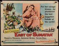 9w076 EAST OF SUMATRA style B 1/2sh '54 Jeff Chandler, sexy Marilyn Maxwell, Anthony Quinn!