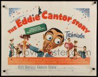 9w077 EDDIE CANTOR STORY 1/2sh '53 great wacky art of Keefe Brasselle w/sexy dancers!