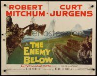 9w079 ENEMY BELOW 1/2sh '57 cool art of Robert Mitchum & Curt Jurgens in the U.S. Navy!