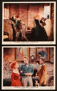 1e020 THREE VIOLENT PEOPLE 12 color 8x10 stills '56 great images of Anne Baxter & Charlton Heston!