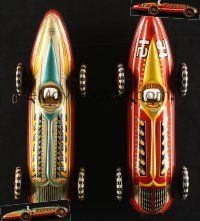1h001 LOT OF 2 MARX TOYS WIND-UP TIN RACE CARS '50s you can race them together with your friends!