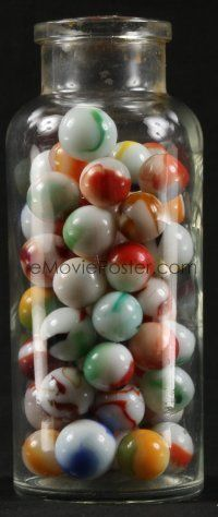 1h005 LOT OF 1 JAR OF SMALL MARBLES '50s pour them out and play with your friends!