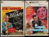1h072 LOT OF 33 FORMERLY FOLDED BELGIAN POSTERS '50s-70s great art from mostly non-U.S. movies!