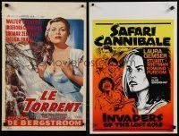 1h075 LOT OF 26 FORMERLY FOLDED BELGIAN POSTERS '50s-70s great art from mostly non-U.S. movies!
