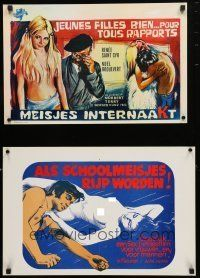 1h078 LOT OF 18 FORMERLY FOLDED BELGIAN POSTERS FROM SEXPLOITATION MOVIES '60s-70s sexy images!