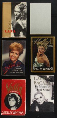 1h040 LOT OF 6 ACTRESS BIOGRAPHY HARDCOVER BOOKS '80s-90s Lana Turner, Lauren Bacall, Winters