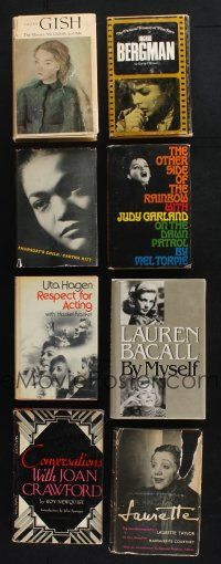 1h027 LOT OF 8 ACTRESS BIOGRAPHY HARDCOVER BOOKS '50s-80s Bergman, Garland, Bacall, Gish & more!