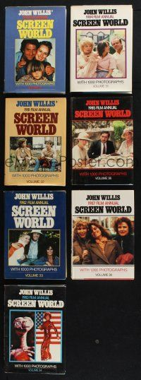 1h018 LOT OF 7 HARDCOVER SCREEN WORLD FILM ANNUAL BOOKS '80s filled with movie information!