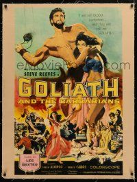 1s075 GOLIATH & THE BARBARIANS linen 30x40 '59 marvelous art of Steve Reeves & sexy Chelo Alonso!