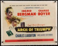 1s027 ARCH OF TRIUMPH linen style A 1/2sh '47 Ingrid Bergman, Charles Boyer, by Erich Maria Remarque